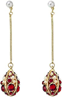 Girl Silver Needle Pearl Rhinestone Earrings Long Section Drop-Shaped Ear Pendant Fairy Luxury Temperament Ear Ornaments Jinlyp (Color : Silver Needle-Red Diamond)