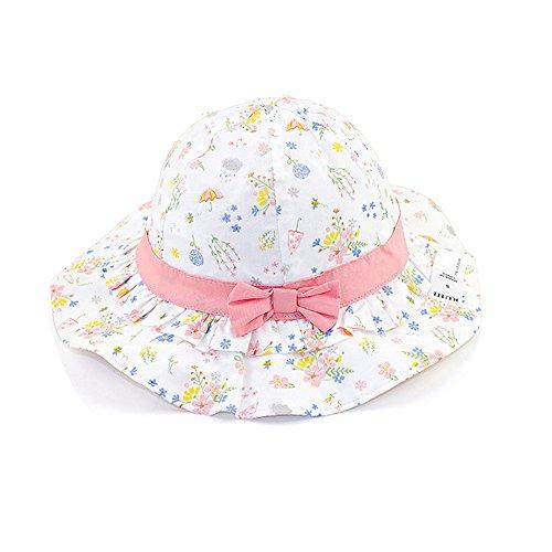 iisport Sonnenhut Baby Mädchen, Kleinkind Fisherhut Mädchen Sommermütze mit Kinnriemen, UV-Schutz, Blumen, 52cm / XL