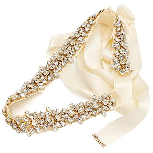Yanstar Crystal Wedding Belt Sashes Bridal Belt Sash with Rhinestones for Bride and Bridesmaid(Ivory Ribbon,Gold)