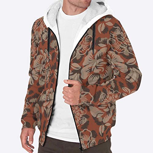 WJunglezhuang Mannen Zip Up Hoodies Sweatshirt Fleece Plant Bloemen Patroon Jassen