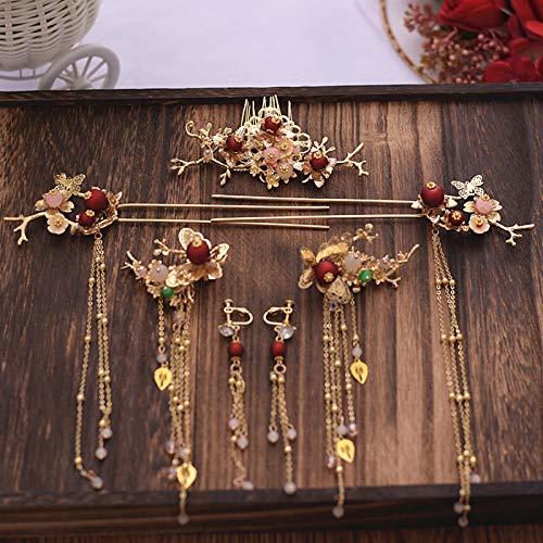 Vintage Haaraccessoires Women'S Chinese Klassieke Bruid Handgemaakte Tiara Haarspeld Mooie En Nobele Gouden Pruik Rode Kralen Tassel Oorbellen
