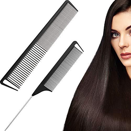 2 Peignes en Fibre de Carbone Peigne de Queue de Rat Peigne à Dents Larges et Fines Outils de Soins de Cheveux de Salon de Coiffure pour Hommes et Femmes avec Cheveux à Types Différents