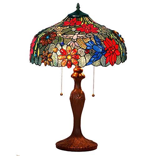 Tiffany Lampe de Bureau Vintage Vitrail 60W 2 Ampoule Colibri Rétro Européen Lampe de Table Table de Chevet Salon Chambre à Coucher Bureau Cadeau W16 H24 Pouce Lampe de Chevet