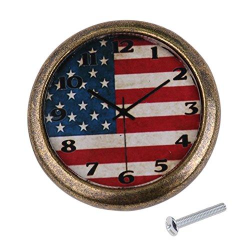 Homyl Kreative Möbelknöpfe Schrankknöpfe mit Befestigungschrauben in Uhr-Design - USA Flagge, 35mm