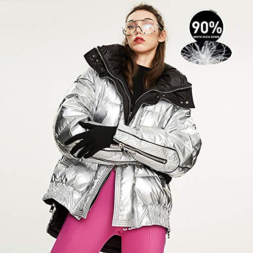 Sijux Damen Daunenjacke Loose Winter Thicken Windproof Metallic Glossy White Entendaunen Puffer Parker Coat Oberbekleidung,Silber,L