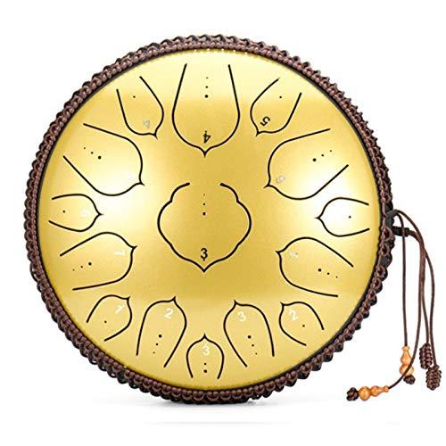 15 Notizen 14ZollPfannentrommel D Major Steel Tongue Drum | Schlaginstrument | Zungentrommeln aus Kohlenstoffstahl mit Schlägeln Stoßfeste Tasche für Meditation/Yoga/Zen/Konzert
