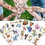Yarlilyan 90+ Animal Tattoos for Kids Girls Boys Children, Cartoon Bear Pig Elephant Crocodile, Fake Waterproof tattoo on Hand Arm Birthday Halloween Party Favor Temporary Tattoo Sticker 12 Sheets
