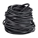 3MM Flat Genuine Leather Cord, Strip Cord Braiding String, Natural Leather Lace for Jewelry Making, Crafts, Bracelet Necklaces Making(Black 5Yards)