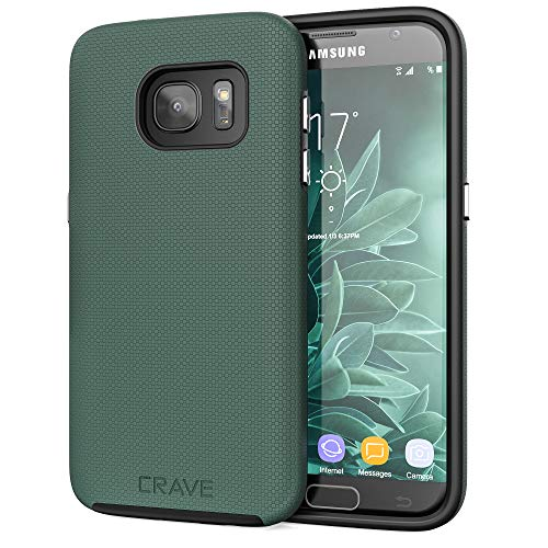 Crave Dual Guard for Samsung S7 Case, Shockproof Protection Dual Layer Case for Samsung Galaxy S7 - Forest Green