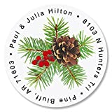 Spruce Personalized Return Address Labels – Set of 144, Round Self-Adhesive, Flat-Sheet Labels, Holiday Design by Colorful Images