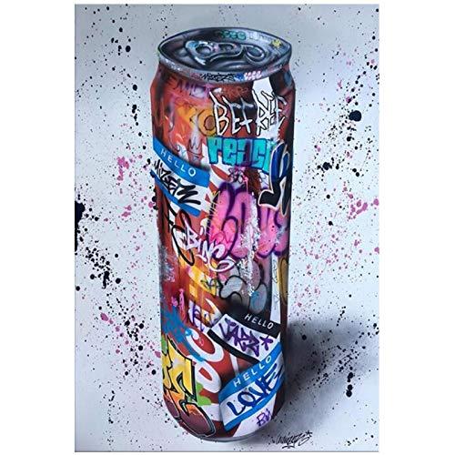MZDesign Póster Graffiti Art Bebida Botella Arte de la pared Carteles Impresiones Pintura abstracta de la lona Cuadros de pared modernos para la sala de estar Cuadros para el hogar-60x90cmx1 Sin marco