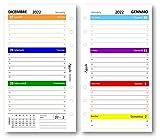 Ricambio agenda settimanale COLORS 9,5 x 17 bilingua (carta 90 gr) in 7 colori - 2022