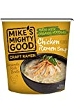 Mike's Mighty Good Craft Ramen Chicken Ramen Soup, 1.6 Ounce Cups (6 Count) Non-GMO, Made with Steamed Organic Noodles Made From Scratch, Optional Organic Oil Packet Included, Palm Oil-Free