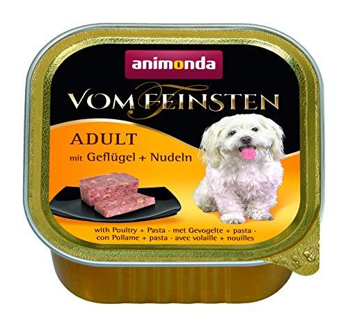 animonda Vom Feinsten Adult Hundefutter, Nassfutter für ausgewachsene Hunde, mit Geflügel + Nudeln, 22 x 150 g