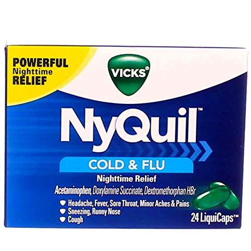 Vicks NyQuil Cold & Flu Nighttime Relief LiquiCaps 24 ea (Pack of 3)