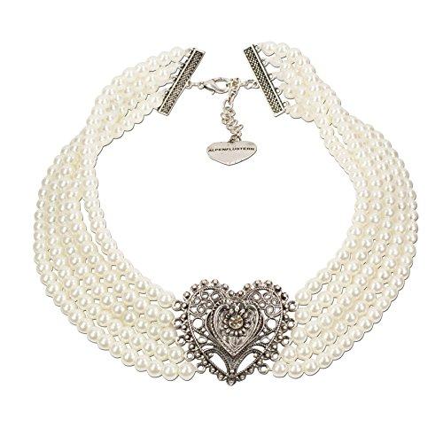 Alpenflüstern Perlen-Trachten-Collier Louise - Trachtenkette mit Trachtenherz - Damen-Trachtenschmuck Dirndlkette creme-weiß DHK126