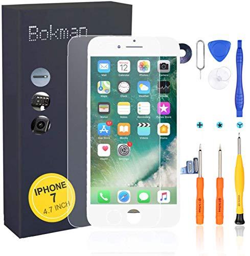 Bokman Förmonterad display reparationssats kompatibel med vit iPhone 7, inklusive FaceTime-kamera, mikrofon, högtalare och närhetsensor, matchande professionell verktygssats ingår