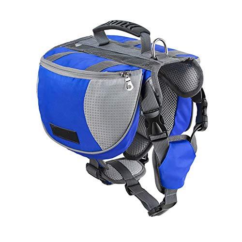 Lifeunion Adjustable Service Dog Supply Backpack Saddle Bag for Camping Hiking Training(Blue,Large)