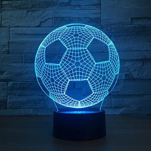 Regalos para niños de luces nocturnas de 7 colores balón de fútbol 3D LED luz nocturna creativa ilusión lámpara de mesa USB Touch Control Dormitorio Decoración 16 colores Mando a distancia