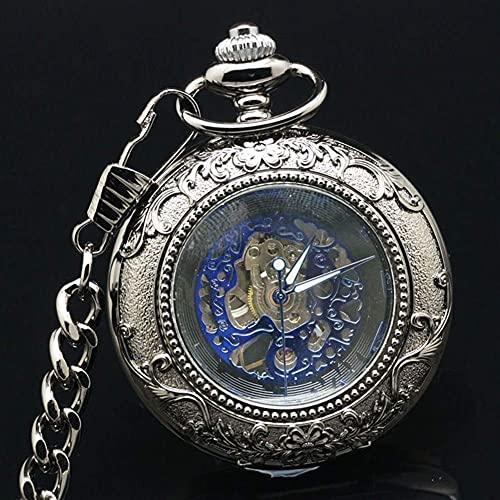 Reloj de Bolsillo, Acero de tungsteno Reloj de Bolsillo mecánico en Relieve Negro, Reloj de Bolsillo mecánico con Tapa Retro, Reloj de Bolsillo Escala Romana Collar de Hombre Joyas Mesa de e