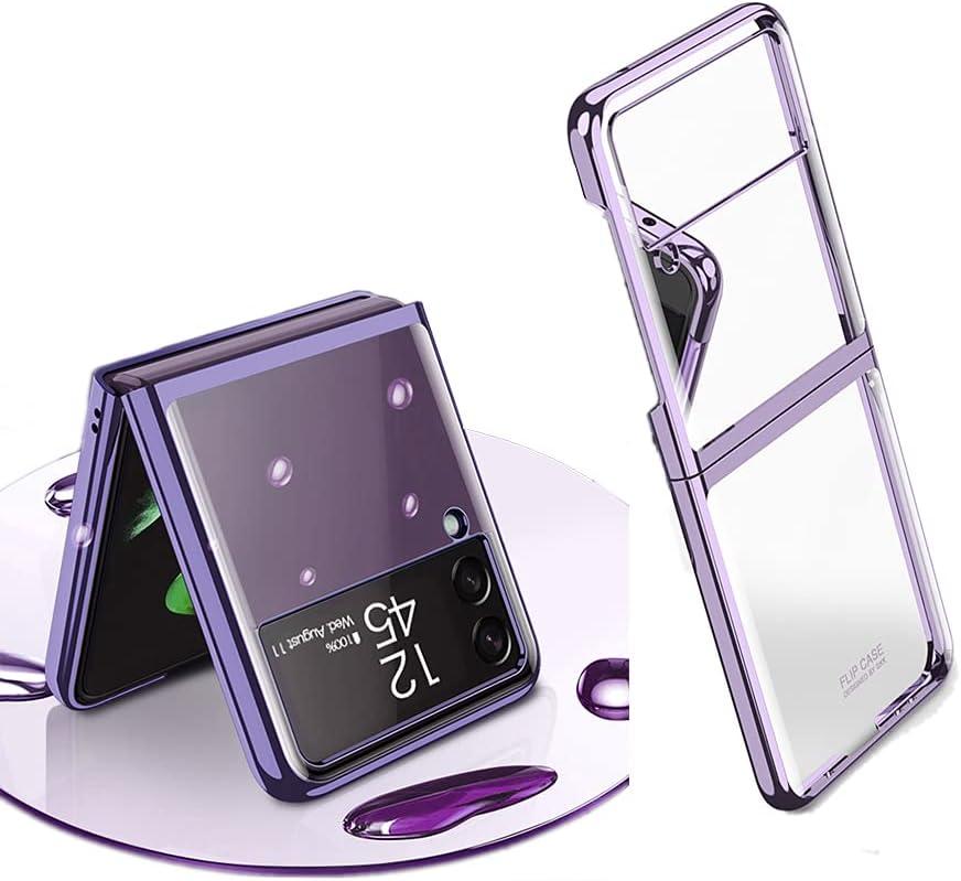 Plating Slim Shiny Case for Samsung Galaxy Z Flip 3, Transparent Hard PC Shockproof Case for Galaxy Z Flip 3 (Purple)