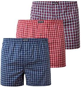 Snocks 3X Calzoncillos Hombre Boxer Americano 100% Algodon Organico Pack de 3 Rojo Diseño de Cuadros Tamaño XL Ropa Interior Americana