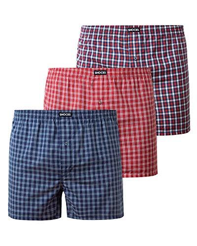 Snocks American Boxershorts Herren 3 Paar Mix Größe L Unterhosen Männer Large Herren Unterhosen Herren Boxershorts Baumwolle Boxershort Herren
