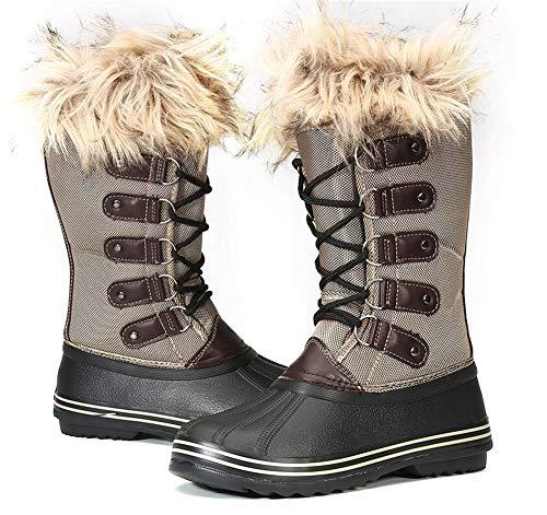 DYHQQ Botas de Nieve para Mujer, Botas para Clima frío con Aislamiento de 200 g, Bota Duradera Impermeable cálida para Exteriores a Media Pantorrilla,B,39