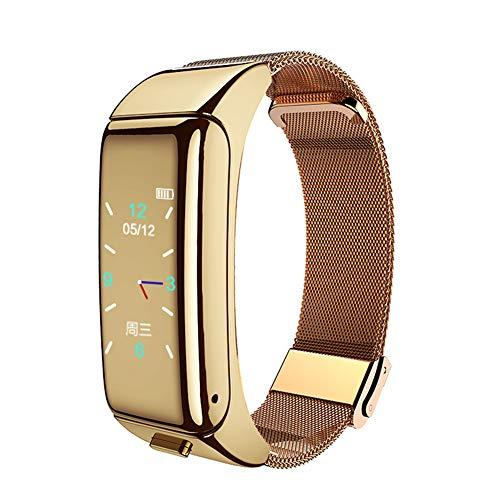 Smart Armband Horloge Stappenteller Monitoring Informatie Duw Armband Bluetooth Headset Twee-in-Een Antwoorden Telefoon Prachtige Kleur Scherm Staal Ketting Horloge Goud