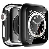 lϟk 2 pezzi nero custodia cover per apple watch se/series 6 / series 5 / series 4 40mm con vetro temperato - copertura completa custodia rigida hd clear pellicola protettiva