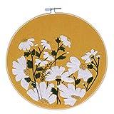 Kit de Inicio de Bordado DIY Flores Plantas Patrón Tela Color Hilos Herramientas Trabajo Hecho a Mano Costura Principiante