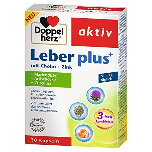 Doppelherz Leber plus mit Cholin + Zink + Mariendistel + Artischocke + Curcuma, 3er Pack (3 x 30 Kapseln)