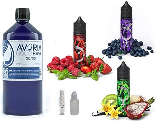 Avoria XXL Liquid Vorrat Set 1 l Basen Flasche 50/50 Base 850 ml | Alchemie Beeren exotische Früchte Aromen | DAS Geschmackserlebnis für alle Dampfer | 00 mg Nikotinfrei | Beere Menthol Vanille