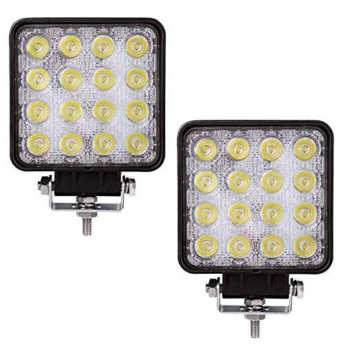 YSYSPUJ Floodlight 2 Piezas de 48W LED Spot Proyector Barra Luces de Trabajo de la lámpara del Tractor SUV Carro 12V 24V de Alta Potencia Foco (Emitting Color : White)