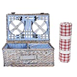BFCDF Cesta de Picnic con Manta, Cesta de Picnic para 4 Personas, Juego de Manta Impermeable y Cubertería Completa Azul