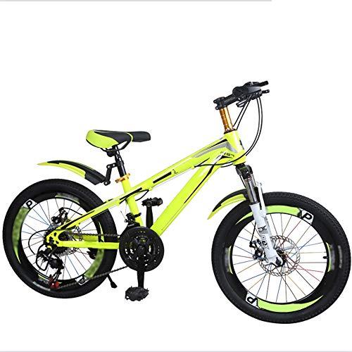 Axdwfd Kinderfiets, kinderfiets, fietstrainingsfiets, 20 inch, jongens en meisjes, geschikt voor kinderen in de leeftijd van 6-11, roze, blauw, geel
