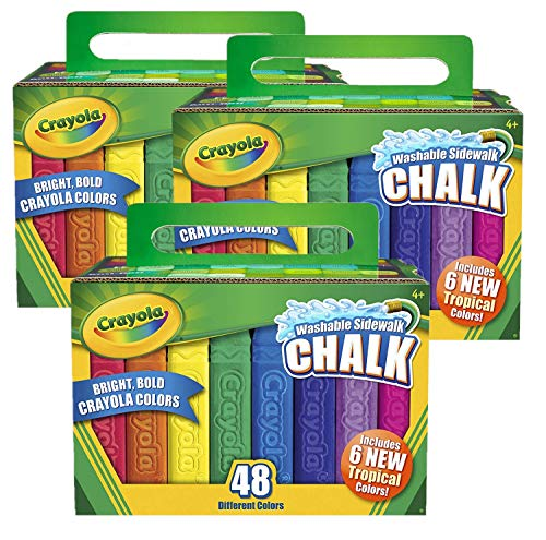 Washable Sidewalk Chalk, 48 Assorted Bright Colors by Crayola, Pack of 3