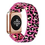 BMBEAR Stretchy Strap Loop Compatible with Apple Watch Band 38mm 40mm iWatch Series 6/5/4/3/2/1 Pink Leopard