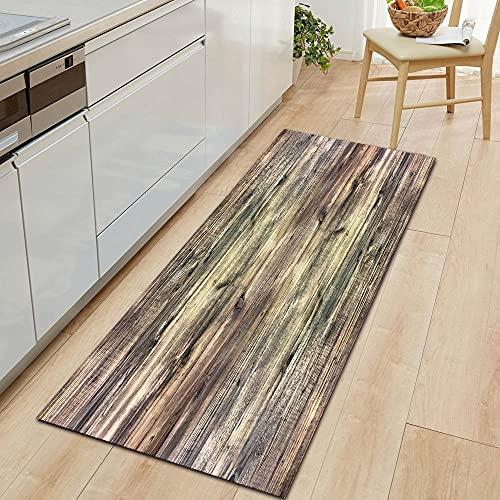 HLXX Wood grain kitchen mat entrance door mat household corridor floor non-slip Doormat A20 60x180cm