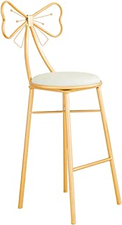 JHBW-bar stool Metal Iron Frame, Leather Pad, 45/65/75cm (18/26/30 Inch) Sitting Height, Creative Butterfly Chair, Suitable for Dressing Room, Bar, Cafe, Home (Gold)