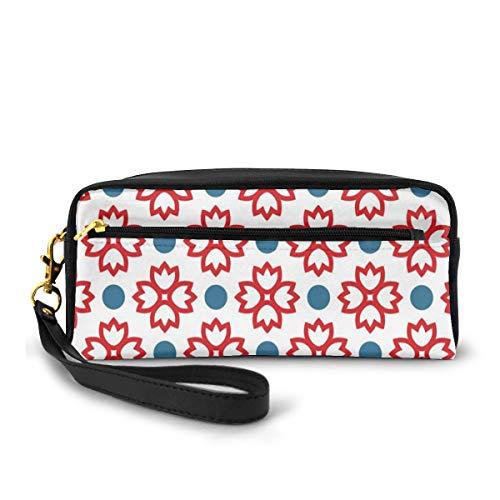 Pencil Case Pen Bag Pouch Stationary,Abstract European Traditional Polka Dots Symmetrical Natural Inspiration,Small Makeup Bag Coin Purse