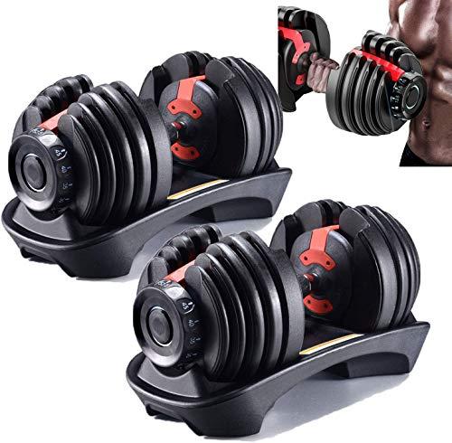 UNIVERS Fitness Adjustable Dumbbells Set of 2 52.5 lbs | Fitness Dumbbells Set with Handle and Weight Plate | Best for Home Gym (Black, 52.5lb×2)