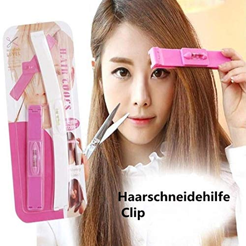 Funmazit Professional Salon Clipper Trimmer Thinning Haircutting Hairstyling Tool Kit DIY Haarschneide Hilfe Clip Haarschneidewerkzeug Kamm Werkzeug Pony Frisur Fransen Haircutting Werkzeug(Rosa)