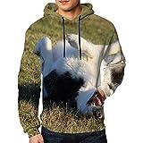 Jersey para Hombres Alaskan Malamute Riendo Perro Animales Vida Salvaje Naturaleza Sudadera con Capucha M