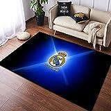 Meinianda Alfombra Niños Rectángulo Moderno Azul Nórdico Real Madrid Equipo de Amantes del fútbol Niño Creativo Sala de Estar Sofá Alfombra de Piso Alfombra de baño Protectora 80 * 160 cm