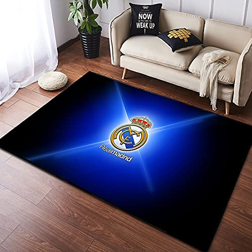 Meinianda Alfombra para niños Rectángulo Moderno Azul Nórdico Real Madrid Equipo de Amantes del fútbol Niño Creativo Sala de Estar Sofá Alfombrilla Protectora Alfombra de baño 140 * 200 cm