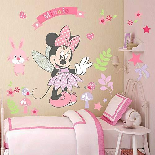 Wandtattoo Kinderzimmer Disney Minnie Mickey Mouse XXL Wandaufkleber Schlafzimmer Micky Minni Maus Wandsticker 3D Kinderzimmer Aufkleber Baby Junge Mädchen Wandbild Kinder Deko