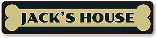 The Lizton Sign Shop Bone Pet Name Home Sign, Personalized Animal Lover Sign, Custom Pet Lives Here Sign, Metal Cat Dog House Decor - Quality Aluminum ENSA1001886-4 x18 Quality Aluminum Sign
