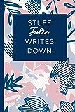 Stuff Jolie Writes Down: Personalized Journal / Notebook (6 x 9 inch) STUNNING Navy Blue and Mauve Blush Pink Pattern