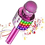 Bluetooth Wireless Karaoke Microphone with Multicolored LED Lights, Portable 4 in 1 Karaoke Machine Microphone for Adult Kids, for Android/iPhone/PC (Pink)